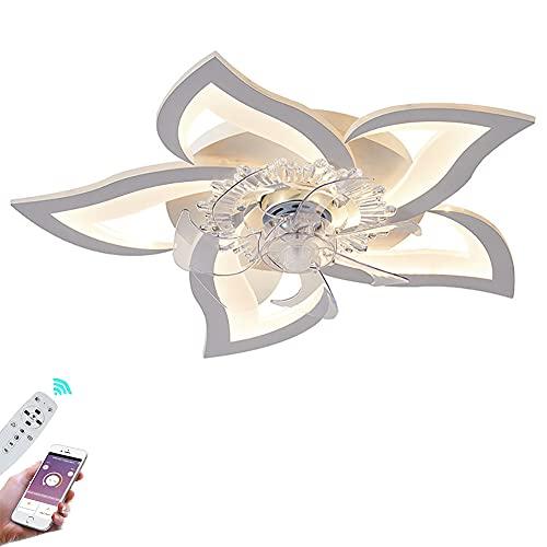 Ventilador de Techo Silencioso LED Lámpara de Techo con Mando a Distancia Blanco Regulable Ventilador con Luz 50W Moderna Dormitorio Plafon de techo Velocidad Del 6 Viento Ajustable Fan Iluminación