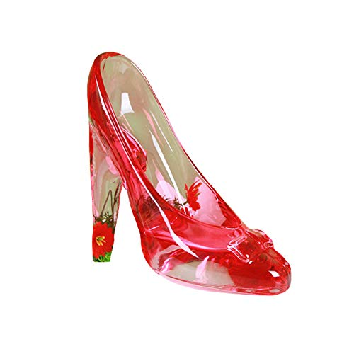 Crystal Clear Glass Slipper Shoes Cake Topper Decoration Wedding Party Birthday Present (Transparent Red)