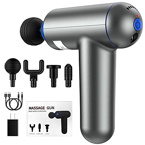 Deep Tissue Muscle Massage Gun USB Rechargeable Super Quiet Percussion Massage Gun 6 Speeds Handheld Electric Massager Body Massage with 4 Massage Heads and 2 USB Charging Cables