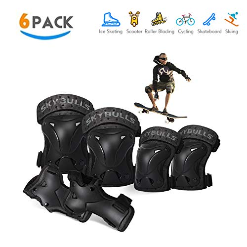 skybulls Adult Knee Pads Elbow Pads Wrist Guards, [6Pack] Knee Elbow Pads Protective Gear Set for Skateboarding Roller Blading Scooters Protective Gear Set for Grownup Youth Children (Black, Large)