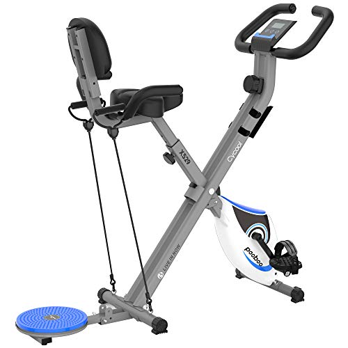 cycool Foldable Stationary Exercise Bike Indoor Cardio Training Cycle Bikes with Comfortable Seat Cushion Twister Plate Adjustable Magnetic Upright Workout Bicycle