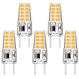 5 Pack G8 LED Bulb Soft White 2700K 120V 3W Equivalent to G8 Halogen Bulb 35W T4 JCD Type GY8.6 Bi-Pin Base, Non-dimmable for Under Cabinet Light, Under Counter Kitchen Lighting