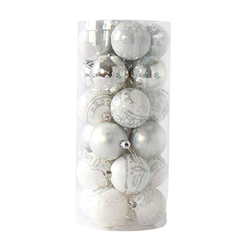 DaoRier - 24 Palle Di Natale Lucide, Opache, Brillanti, Per Albero Di Natale, Bianco, 6 Centimetri