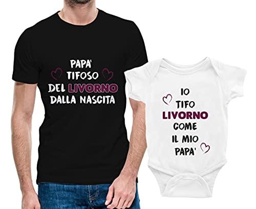 Puzzletee Coppia Tshirt e Body Padre e Figlio - papà Tifoso del Livorno dalla Nascita - Io Tifo Livorno Come Il Mio papà - Coppia Maglietta e Body Padre Figlio - Idea Regalo Padre e Figlio