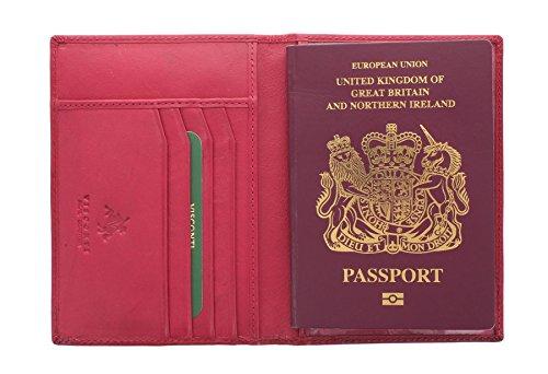 Visconti Colección Polo Porta Pasaporte de Cuero Bloqueo RFID 2201 Fuschia