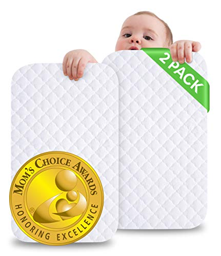 """iLuvBamboo Crib Mattress Protector -2 PACK- Waterproof Pad Cover -28"""" x 52""""- Quilted Soft Bamboo Jacquard Fitted Topper - Breathable & Noiseless - Best Baby Gifts for Potty Training Toddlers & Infants"""