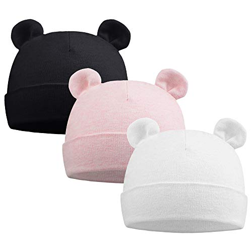 Pesaat Newborn Hospital Hat 0-12Months Preemie Boys Girls Beanie Solid Infant Baby Hats Autumn Winter (Double Layer/3Pack-D, 0-6 Months)