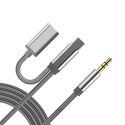 USB C to 3.5 mm Headphone Jack Adapter with Fast Charging 2-in-1 Type C Aux and Charger Adapter for Stereo, Earphones, Headset, Compatible with Pixel 3/4, Galaxy S20/Note10, iPad Pro2018/Huawei/Xiaomi