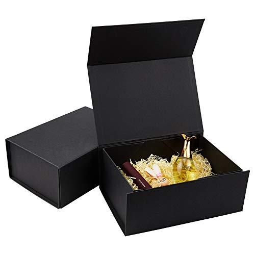 BENECREAT 2 Pack Caja Negra de Cartón de Regalo 22x16x10cm Caja de Papel con Tapa Magnética Envase Superior de Cosmético, Bellezas para Boda, Fiesta, Cumpleaños