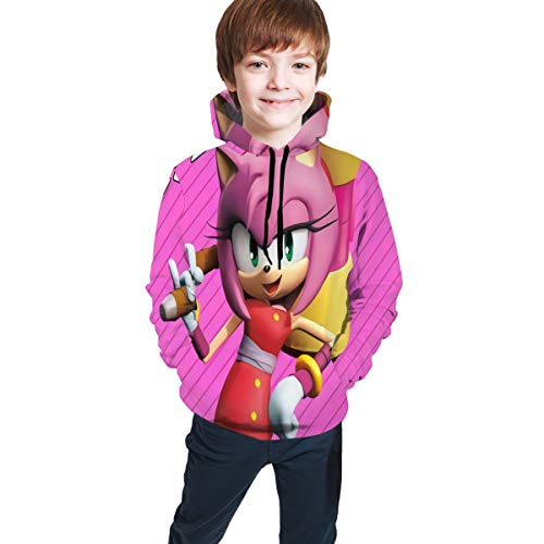 SEGA Sonic The Hedgehog Anime Teen Hooded Sweate Cartoon 3D Print Soft Hooded Sweatshirt S(7-8)