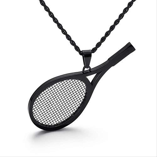 Collana con ciondolo racchetta da tennis Collana con ciondoli sportivi in acciaio inossidabile nero Gioielli di moda