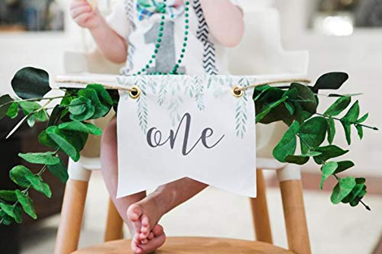 First Birthday Highchair Sign, Banner for High Chair Cake Smash First Birthday for Baby Boho Style 1st Birthday Party Decor