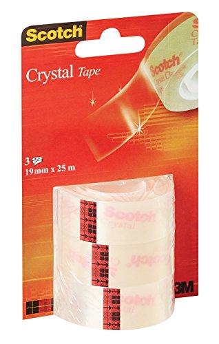 Scotch 32878 Nastro Adesivo Crystal Tape, 19 mm x 25 m, Trasparente, 3 Rotoli