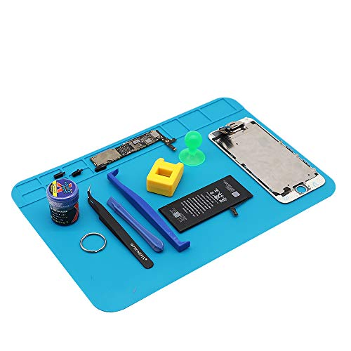 Heat Insulation Silicone Soldering Mat Welding Repair Pad for Soldering Iron, Phone and Computer Repair - Blue (3020 CM Pad)