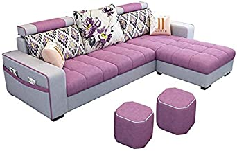 3-Seat Corner Fabric Sofa,Nordic Lazy Couch with 2 Comfortable Stools and Storage Side Pocket Design, Loveseat Sofa for Li...