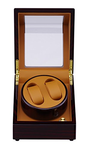 Medetai Wooden Automatic Rotation 2+0 Brown Watch Winder Storage Case Display Box