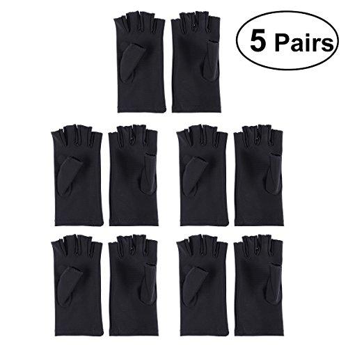 5 paires de gants UV Shield Nail Art Manucure Anti UV Gant Protecteur de main pour lampe à lumière UV Radiatio (Noir)