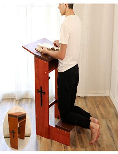 Banco de oración taburete de mesa acolchado para arrodillar estante plegable de madera iglesia