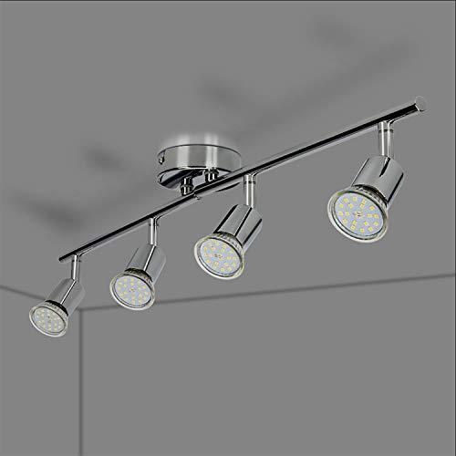 Faretti LED da soffitto orientabili plafoniera Moderna da soffitto per l'Illuminazione da Interno Lampada da Salotto 4 Luci GU10 Bianco Caldo 5W 2000LM IP20
