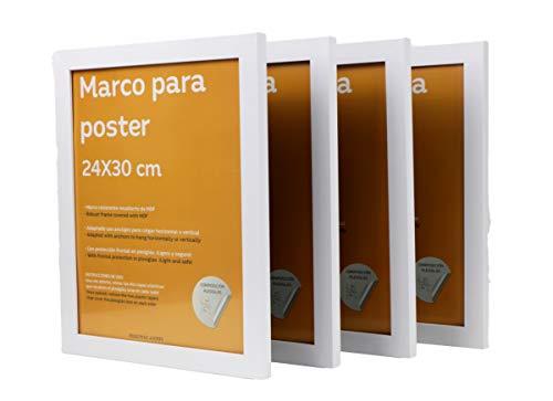 Nacnic Set de 4 Marcos Blancos para Fotos, Posters, láminas, Diplomas. Tamaño(24x30 cm).Robustos de MDF y Frontal de plexiglas. Marcos Blancos para Colgar