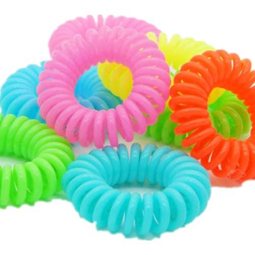 Lazos de pelo espirales sin rastro, lazos elásticos para el cabello, cordones para el teléfono, para coletas, soportes para coletas aptos para todo el cabello (10 piezas)(fluorescencia)