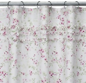 Shabby Chic Shower curtain with Cherry Blossom Floral pattern