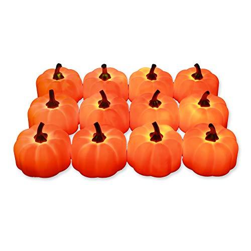 [12 Stück] Hautton LED Teelichtkerzen Kürbis Kerzenlicht mit Flackernde Flamme Licht, Batteriebetrieben flammenlos Teelichter für Outdoor Halloween Weihnachten, Party [Batterien enthalten] –Kürbis
