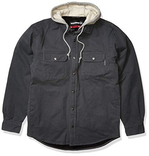 WOLVERINE Men's Overman Fleece Lined Cotton Duck Canvas Hooded Shirt Jacket, Granite, Large