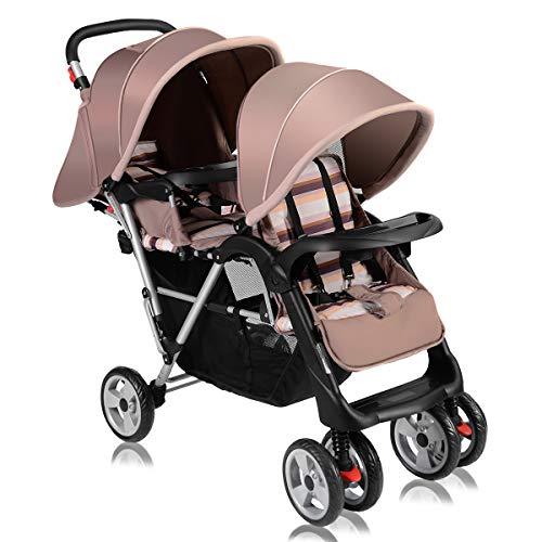 COSTWAY Poussette Double pour Jumeaux et Enfant avec Sièges Coloris au Choix 117 * 53 * 102CM (Beige)