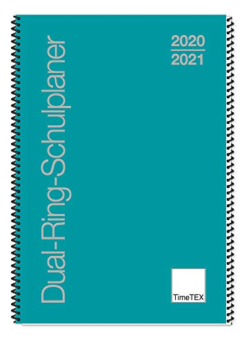 TimeTex Dual-Ring-Schulplaner A4 - türkis - Schuljahr 2020-2021 - Lehrerkalender - Lehrertimer - 10550