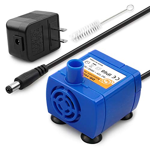 Kutoraworks Replacement Pump for Veken Cat Water Fountain and isYoung Cat Fountain with Adaptor and Cleaning Brush