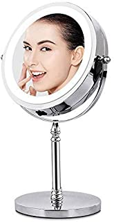 BRIGHTINWD BRIGHTINWD Makeup Mirror with Lights 10X Magnifying Light Up Tabletop Vanity Mirror Double Sided 360 Rotation P...