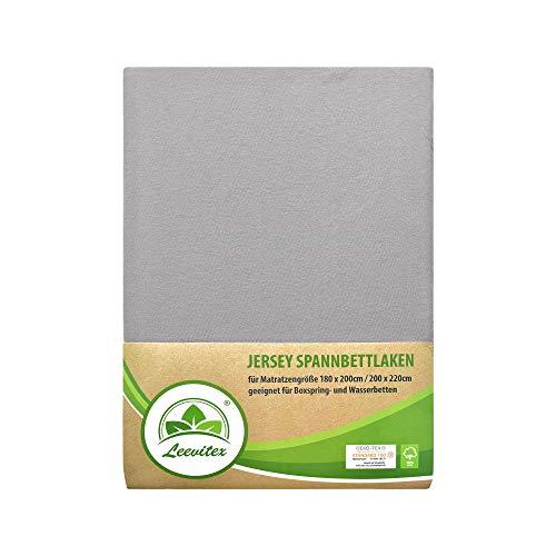 leevitex Farbenfrohes Spannbettlaken für WASSERBETTEN & BOXSPRINGBETT Spannbetttuch Jersey 200 x 220cm, 40cm Steghöhe 100% Baumwolle ca. 170 g/m² (Mittelgrau)