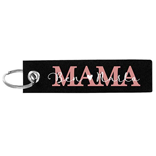 Herz & Heim® Muttertagsgeschenk Mama Schlüsselanhänger aus Filz mit Aufdruck der Namen ihrer Kinder