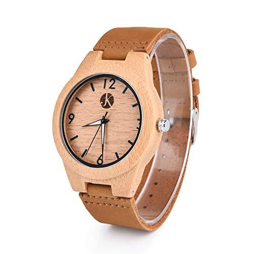 Kim Johanson Herren Bambus-Holz Armbanduhr *Classic Wood* in Braun mit Echtem Lederarmband Handgefertigt Quarz Analog Uhr inkl. Geschenkbox