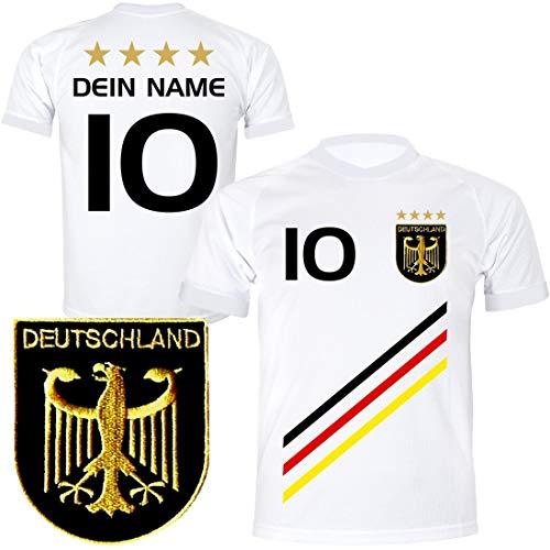 DE-Fanshop Deutschland Trikot mit GRATIS Wunschname + Nummer #D3 2021 2022 EM/WM weiß - Geschenk für Kinder Jungen Baby Fußball T-Shirt personalisiert als Ostergeschenk
