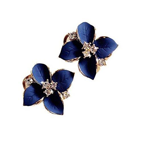 Hosaire Pendientes de Las Mujeres de la Elegancia Pendientes con la joyería Azul del Rhinestone de la Camelia Forma Linda Orejas aretes Oscuro
