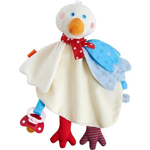 HABA 303253 - Schmusetuch Gans Putzig | Kuscheliges Schnuffeltuch für Mädchen und Jungen mit Spieleffekten und Klettschlaufe | Ab 6 Monaten