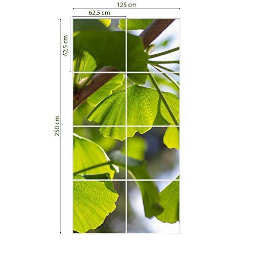 banjado LED Lichtdecke mit Acrylbild | Lichtdeckenplatte Acryl 124x186cm inkl. Deckenpaneel 36 W 4000 Kelvin Gingko | Deckenleuchte Rasterdecke | Bürolampe Praxisleuchte Rezeption Wartezimmer