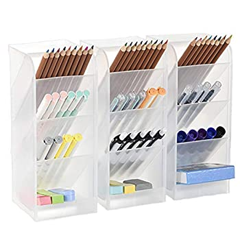 3 Pcs Big Desk Organizer- Pen Organizer Storage for Office School Home Supplies Translucent White Pen Storage Holder High Capacity Set of 3 12 Compartments  White Big Pen Holder