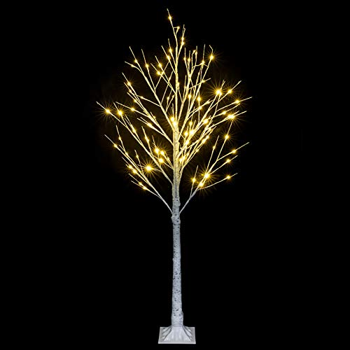 XM&LZ 4ft Snowflake Christmas Tree with 48 LED Lamp,PVC White Artificial Birch Tree,Christmas Decorations Indoor Festival Party Small Christmas Tree