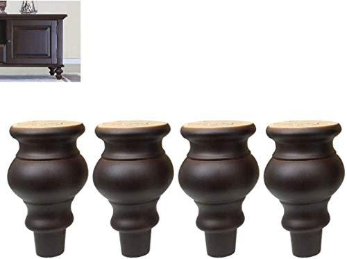 YUNLILI 4-teiliges europäisches Möbelbein, Massivholz Sofatisch, TV-Kabinett Bettwäsche Couchtisch Fußmöbel Riser Support Holz Zubehör (Color : Brown18cm)