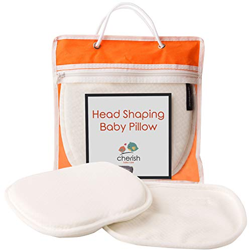 Flat Head Baby Pillow with 2 White Washable Cotton Covers - Safe Baby Head Shaping Pillow with Neck Support - Newborn Essentials