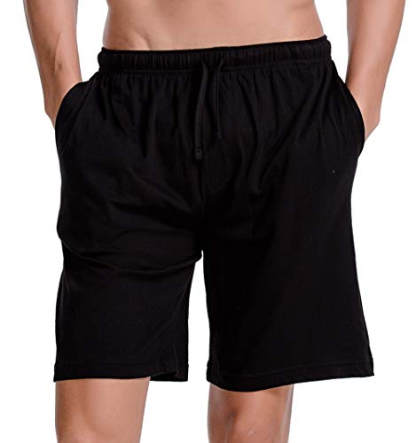 CYZ Men's Comfort Cotton Jersey Shorts with Pockets-Black-L