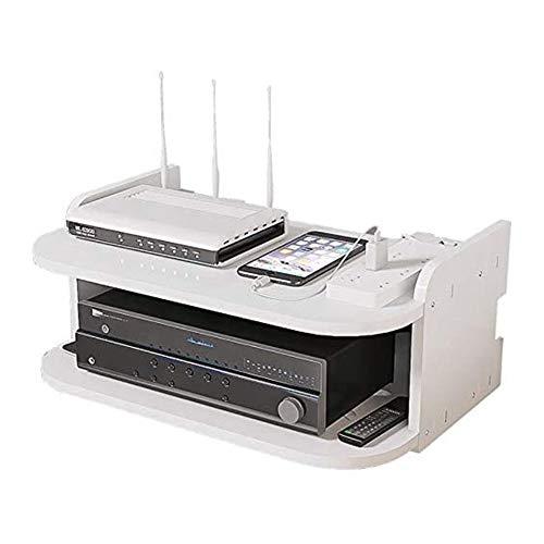 zhouxi Estante Flotante WiFi Router Set-Top Estanterias De Pared, Soporte De Pared Router Caja Almacenamiento, Caja De Almacenaje para Regletas Enchufes, para El Hogar Y La Oficina30*20 * 13CM