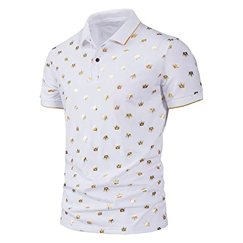 Mens Slim Fit Short Sleeve Lapel Golf Polo Shirts Summer Tee Casual Athletic Collared T Shirt Tops Blouse