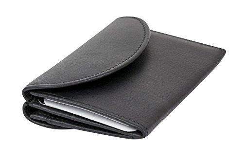 LEAS Kleine Minibörse super dünn, flaches Portemonnaie mit RFID Schutz Block Folie mit Geschenk Box Echt-Leder, schwarz
