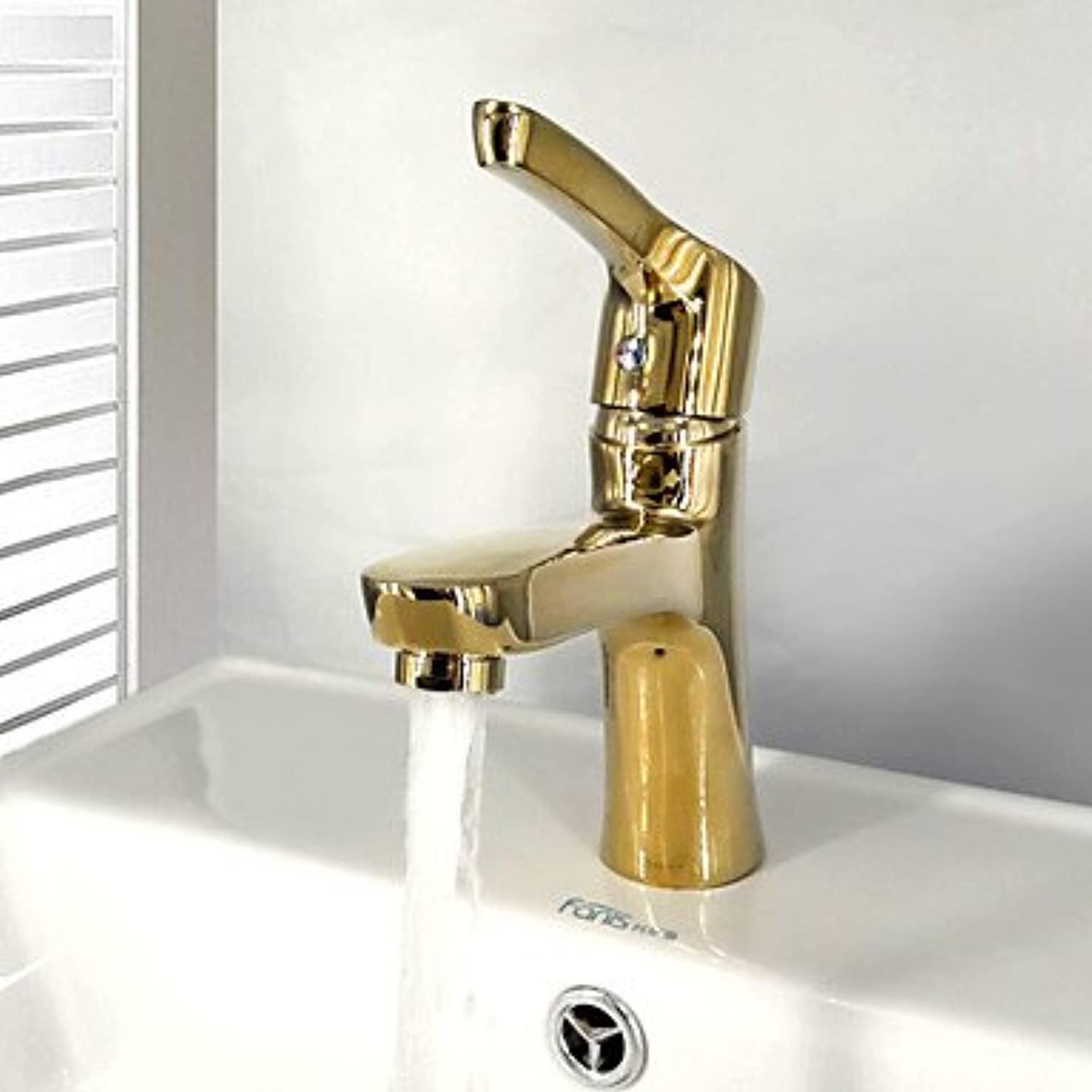 ZLL Contemporary Centerset Widespread with Ceramic Valve Single Handle One Hole for Ti-PVD , Bathroom Sink Faucet