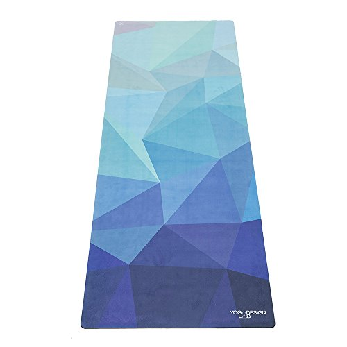 Yoga Design LAB | The Combo Yoga MAT | 2-in-1 Mat+Towel | Eco Luxury | Ideal for Hot Yoga, Power, Bikram, Ashtanga, Sweat | Studio Quality | Includes Carrying Strap! (Geo-Blue)