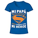 Camiseta de Pico Mujer MI Papa MI HEROE T Shirt - Azul eléctrico - XL